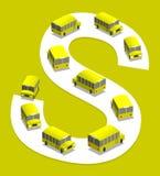 Schoolbus. School bus on the road, 3D illustration Stock Image