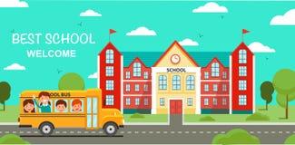 Schoolbus en School de Bouw Vector illustratie royalty-vrije illustratie