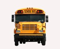 Schoolbus front view. Front view of a schoolbus isolated over a white background Royalty Free Stock Images