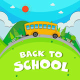 Schoolbus riding on the road Royalty Free Stock Image