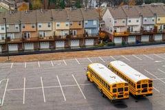 Schoolbuses em Atlanta, Geórgia, EUA. imagem de stock royalty free