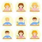 Schoolchild avatar vector illustration. Schoolchild avatar flat vector cartoon illustration. School Stock Image