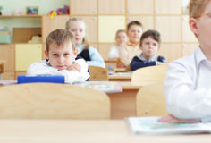 Schoolchild in a class Stock Photo