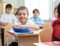 Schoolchild in a class Royalty Free Stock Photos