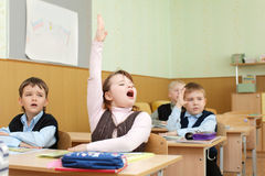 Schoolchild in a class Royalty Free Stock Photo
