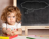 Schoolchild in a class Royalty Free Stock Photography