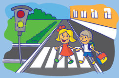 Schoolchild crossing at pedestrian crossing. Illustration of boy and girl schoolchild are moving through the crosswalk on a green traffic light Royalty Free Stock Image