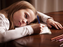 Schoolchild  doing homework Royalty Free Stock Photography