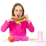 Schoolchild is eating healthy lunch Stock Photography