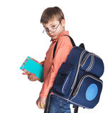 Schoolchild in glasses with apple Royalty Free Stock Photography