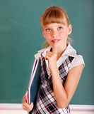 Schoolchild near green blackboard. Stock Images