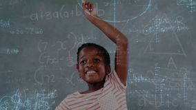 Schoolchild raising his hand with mathematical information. Digital animation of African-american schoolchild raising hand with mathematical information stock footage