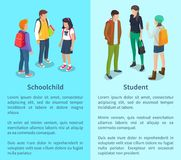 Schoolchild and Student Set of Posters with Text. Schoolchild and student collection of posters with text.  vector illustration of groups of boys and girls Royalty Free Stock Photos