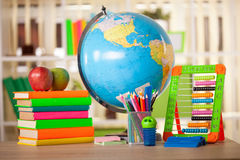 Schoolchild and student studies accessories. Back to school con Stock Photography