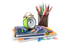 Schoolchild studies accessories. Back to school Royalty Free Stock Photo