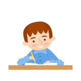 Schoolchild writes in a notebook. School background Royalty Free Stock Images