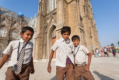 Schoolchildre having fun after classes in courtyard of the indian catholic school Stock Photos