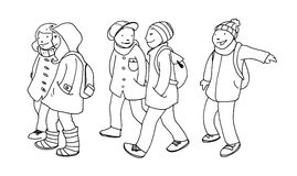 Schoolchildren. Many laughing schoolchildren go to the school in a winter day. Black and white illustration Royalty Free Stock Photo