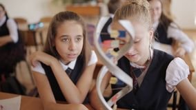 High school students in school uniform study the structure of DNA in a biology class. Schoolchildren in the classroom in the lesson learn dna layout stock video