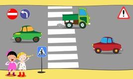 Schoolchildren cross road on pedestrian crossing in downtown, near school. Vector illustration. royalty free illustration