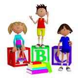 Schoolchildren 3d Royalty Free Stock Photos