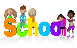 Schoolchildren 3d. Isolated on the white background royalty free illustration