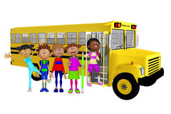 Schoolchildren 3d and schoolbus Royalty Free Stock Photography