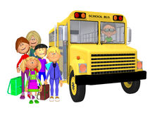 Schoolchildren 3d and schoolbus Royalty Free Stock Photos