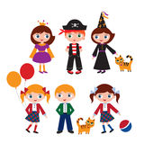 Schoolchildren in the different situations. Children in carnival costumes and uniforms. Princess, pirate and a witch with a cat. Vector illustration Royalty Free Stock Image