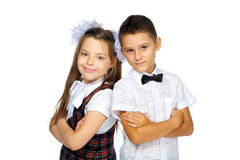 Schoolchildren elementary school boy and girl Royalty Free Stock Images