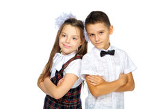 Schoolchildren elementary school boy and girl Stock Photo