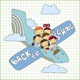 Schoolchildren fly in an airplane. Sketchy vector group of schoolchildren fly in an airplane with text back to school vector illustration