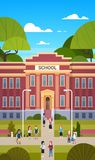 Schoolchildren Going To School Building Exterior With Group Of Pupils Students royalty free illustration