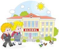 Schoolchildren going to school. Schoolgirl, schoolboy and their school Stock Images