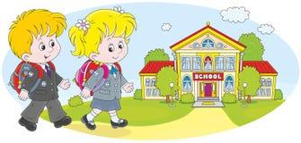 Schoolchildren going to school. Schoolgirl, schoolboy and their school Royalty Free Stock Photos