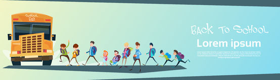 Schoolchildren Group Go Bus Back To School Education Banner Royalty Free Stock Image