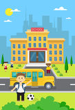 Schoolchildren Group Near School Building Exterior Yellow Bus Royalty Free Stock Photo