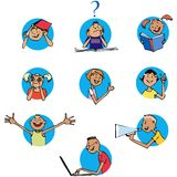Schoolchildren icons. Children or pupils in different expressions Stock Illustration