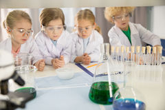 Schoolchildren in lab coats studying together. In chemical laboratory stock images
