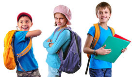Schoolchildren Of Grade School With Backpack And Books Royalty Free Stock Photo