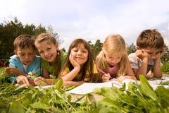 Schoolchildren outside stock image