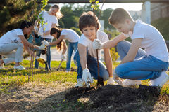 Schoolchildren planting young fruit trees. Dig it up. Kids engaging in planting trees and helping each other, keeping smile on their faces Royalty Free Stock Images