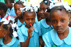 Schoolchildren in Robillard, Haiti. Royalty Free Stock Images