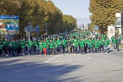 Schoolchildren runs. Mass schoolchildren heat in the City Day in Sochi Royalty Free Stock Image