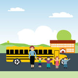 Schoolchildren and school bus Stock Photos
