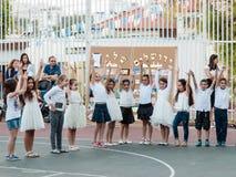 Schoolchildren from the school Katzenelson celebrate 50 years of Royalty Free Stock Photos