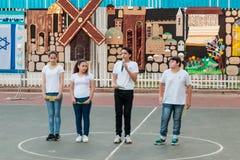 Schoolchildren from the school Katzenelson celebrate 50 years of Royalty Free Stock Image