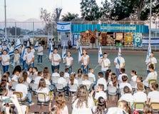 Schoolchildren from the school Katzenelson celebrate 50 years of Royalty Free Stock Photo