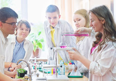 Schoolchildren  in science class Royalty Free Stock Photos