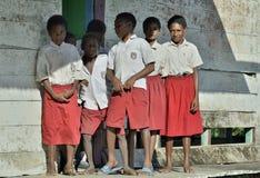 Schoolchildren in scooluniform. Royalty Free Stock Images